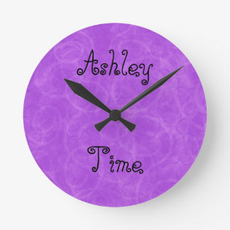 Purple Swirl Custom Name Round Clock