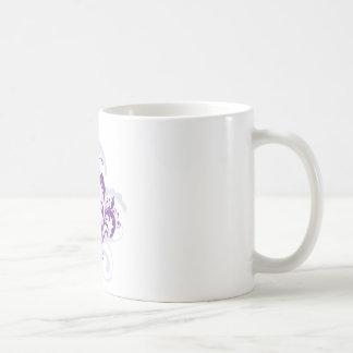 Purple swirl floral design basic white mug