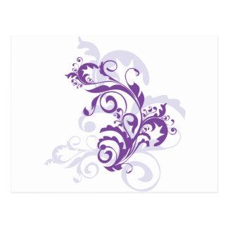 Purple swirl floral design postcard