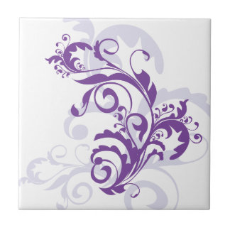 Purple swirl floral design tile