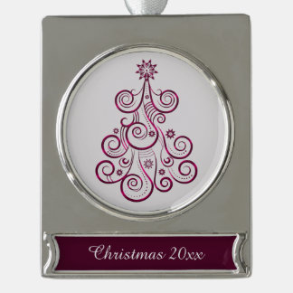 Purple Swirl Holiday Tree Silver Plated Banner Ornament