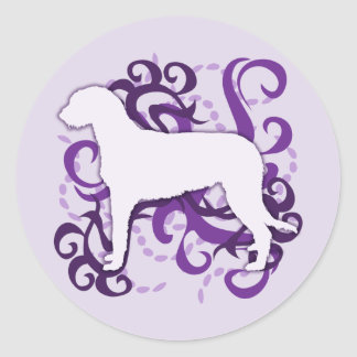 Purple Swirl Irish Wolfhound Classic Round Sticker