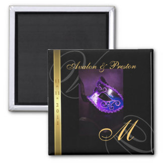 Purple Swirl Masquerade Mask Save The Date Magnet