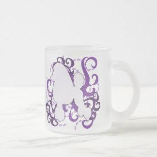Purple Swirl Poodle 10 Oz Frosted Glass Coffee Mug