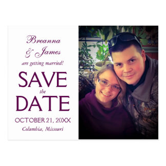 Purple Swirl Save The Date Photo Card Postcard
