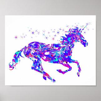 Purple Swirl Unicorn Poster for Kids