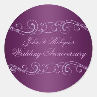 Purple Swirl Wedding Anniversary Envelope Sticker