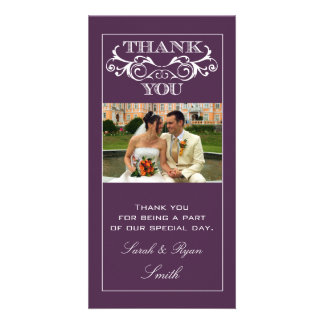 Purple Swirl Wedding Thank You Photo Cards