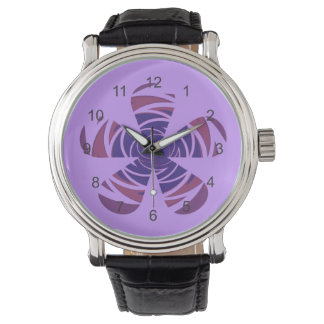 Purple Swirled Retro Flower Watch