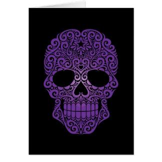 Purple Swirling Sugar Skull on Black Greeting Card