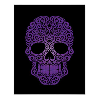 Purple Swirling Sugar Skull on Black Poster