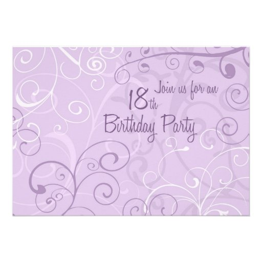 Purple Swirls 18th Birthday Party Invitation Cards