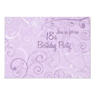 "Purple Swirls 18th Birthday Party Invitation Cards 5"" X 7"" Invitation Card"