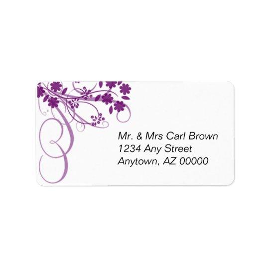 Purple Swirls & Flower Address Label