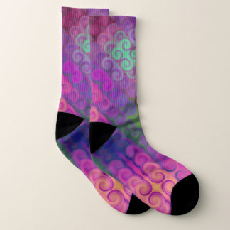 Purple Swirls in a Row Pattern Socks 1