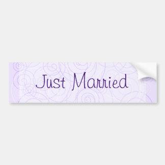 Purple Swirls Just Married Bumper Sticker