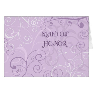 Purple Swirls Maid of Honor Invitation Card