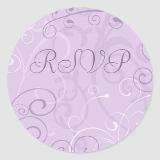 Purple Swirls RSVP Envelope Seals Round Sticker