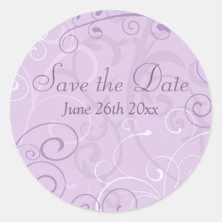 Purple Swirls Save the Date Envelope Seals Round Sticker