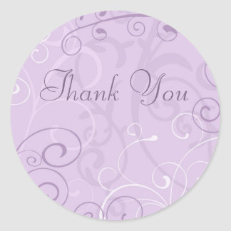 Purple Swirls Thank You Envelope Seals Round Sticker
