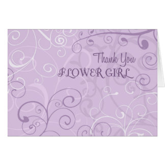 Purple Swirls Thank You Flower Girl Card