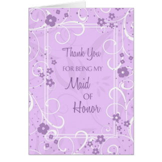 Purple Swirls Thank You Maid of Honour Card