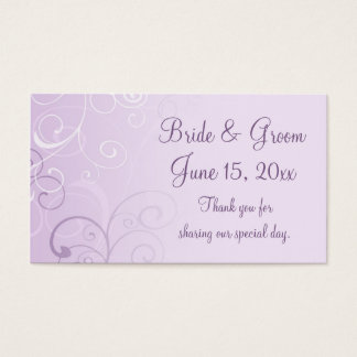 Purple Swirls Wedding Favor Tags Business Card