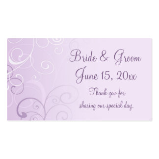 Purple Swirls Wedding Favor Tags Business Card Template