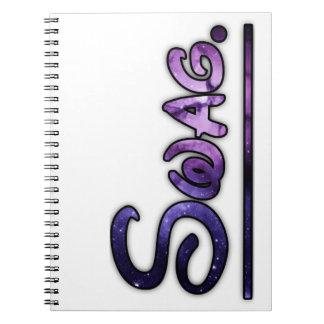 Purple swirly swag space notebook