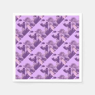 Purple T-Rex Dinosaur Disposable Serviette
