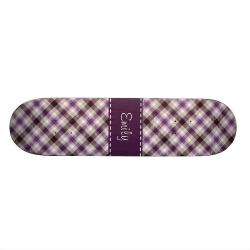 Purple & Tan Plaid Skate Board Deck