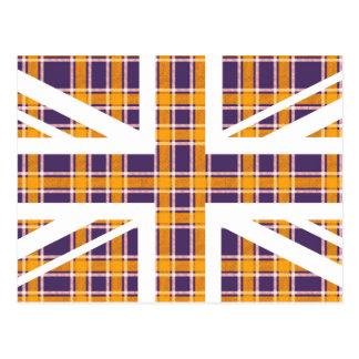 Purple Tartan Pattern Union Jack British(UK) Flag Post Cards