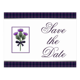 Purple Tartan Plaid and Thistle Save the Date Postcard