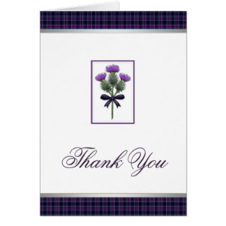 Purple Tartan Plaid and Thistle Thank You Notecard Note Card