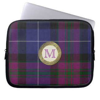 Purple Tartan Plaid Monogram Laptop Cover