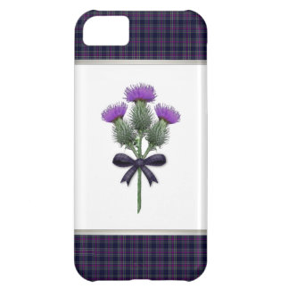 Purple Tartan Plaid & Scottish Thistle Flowers iPhone 5C Case