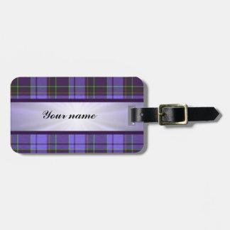 Purple Tartan With Ribbon Luggage Tag