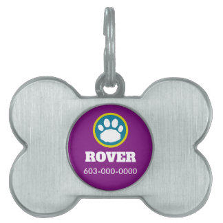 Purple, Teal and Green Paw Print Pet Name Tag