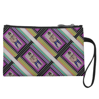 Purple Teal And White Stripe Clutch Wristlet Clutch