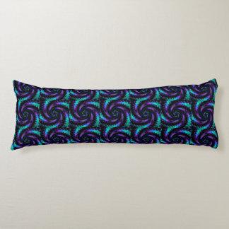 Purple Teal Black Fractal Swirl Body Pillow