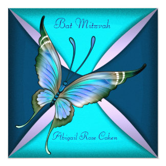 Purple Teal Blue Butterfly Bat Mitzvah 13 Cm X 13 Cm Square Invitation Card