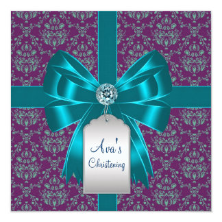 Purple Teal Blue Damask Baby Baptism Christening 5.25x5.25 Square Paper Invitation Card