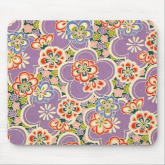 Purple, Teal, Blue, Red, Green & White Flowers Mouse Pad