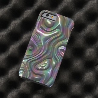 Purple Teal Cool Faux Shiny 3D Retro Waves Pattern Tough iPhone 6 Case