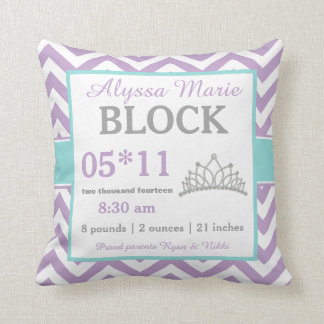 Purple Teal Crown Baby Announcement Pillow
