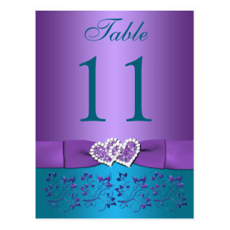 Purple, Teal Floral, Hearts Table Number Card Postcard