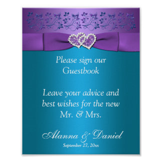 Purple, Teal Floral Hearts Wedding Sign 2 Poster