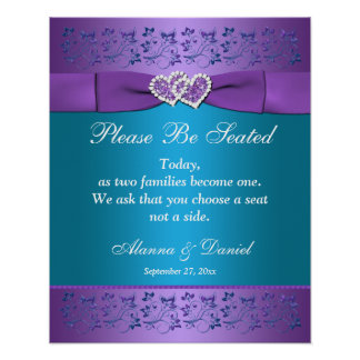 Purple, Teal Floral Hearts Wedding Sign/Poster Poster