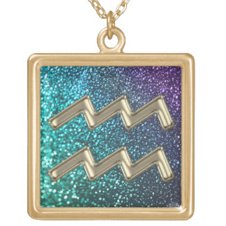Purple Teal Glitter Gold  Aquarius Zodiac Necklace