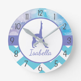 Purple Teal Gymnastics Wall Clock